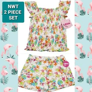 NWT 2 Piece Set White Floral Shorts + Top 14/16